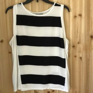 Belle Sky Black and White Striped Tank